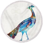 Colorful Peacock Art By Sharon Cummings Round Beach Towel