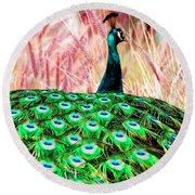 Colorful Peacock Round Beach Towel by Matt Harang