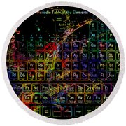 Colorful Periodic Table Of The Elements On Black With Water Splash Round Beach Towel