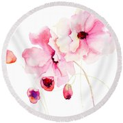 Colorful Pink Flowers Round Beach Towel