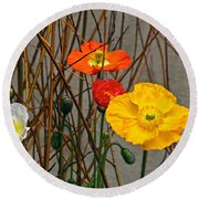 Colorful Poppies And White Willow Stems Round Beach Towel