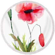 Colorful Poppy Flowers Round Beach Towel
