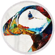 Colorful Puffin Art By Sharon Cummings Round Beach Towel
