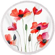 Colorful Red Flowers Round Beach Towel