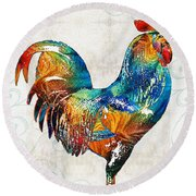 Colorful Rooster Art By Sharon Cummings Round Beach Towel by Sharon Cummings