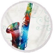 Colorful Saxophone 3 By Sharon Cummings Round Beach Towel