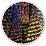 Round Beach Towel featuring the photograph Colorful Scarves by Les Palenik