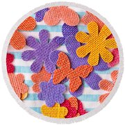 Colorful Shapes Round Beach Towel