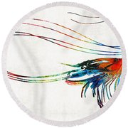 Colorful Shrimp Art By Sharon Cummings Round Beach Towel