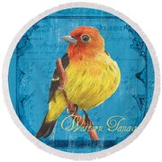 Colorful Songbirds 4 Round Beach Towel