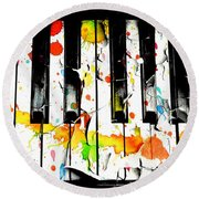 Round Beach Towel featuring the photograph Colorful Sound by Aaron Berg