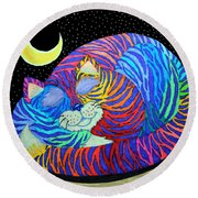 Colorful Striped Cat In The Moonlight Round Beach Towel