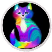 Colorful Striped Rainbow Cat Round Beach Towel