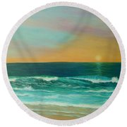 Colorful Sunset Beach Paintings Round Beach Towel