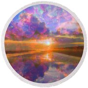 Colorful Sunset By Jan Marvin Round Beach Towel