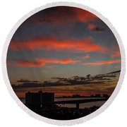 Round Beach Towel featuring the photograph Colorful Sunset by Jane Luxton