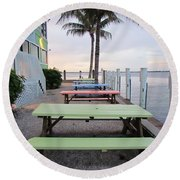 Round Beach Towel featuring the photograph Colorful Tables by Cynthia Guinn