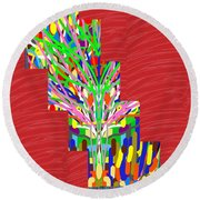 Colorful Tree Of Life Abstract Red Sparkle Base Round Beach Towel by Navin Joshi