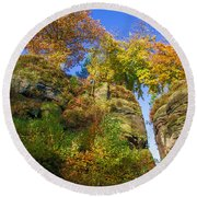Colorful Trees In The Elbe Sandstone Mountains Round Beach Towel
