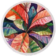 Colorful Tropical Leaves 1 Round Beach Towel