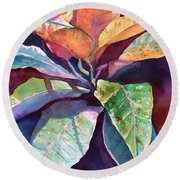 Colorful Tropical Leaves 3 Round Beach Towel