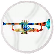 Colorful Trumpet Art By Sharon Cummings Round Beach Towel by Sharon Cummings