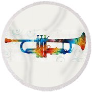 Colorful Trumpet Art Color Fusion By Sharon Cummings Round Beach Towel by Sharon Cummings
