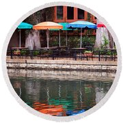Colorful Umbrellas Reflected In Riverwalk Under Footbridge San Antonio Texas Vertical Format Round Beach Towel
