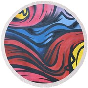 Round Beach Towel featuring the photograph Colorful Urban Street Art From Singapore by Imran Ahmed
