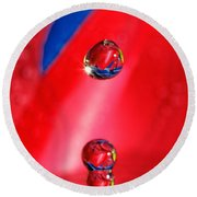 Round Beach Towel featuring the photograph Colorful Water Drop by Peter Lakomy