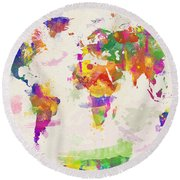 Colorful Watercolor World Map Round Beach Towel