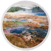 Colorful Waters Round Beach Towel