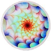 Round Beach Towel featuring the digital art Colorful Web by Anastasiya Malakhova
