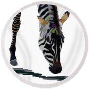 Round Beach Towel featuring the digital art Colorful Zebra 2 by Teresa Zieba