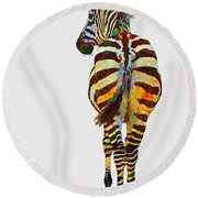 Colorful Zebra Round Beach Towel by Teresa Zieba