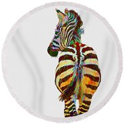 Colorful Zebra Round Beach Towel