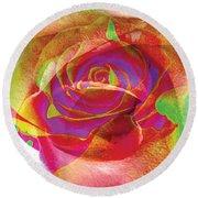 Colorfull Rose Round Beach Towel