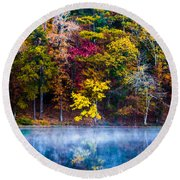 Colors In Early Morning Fog Round Beach Towel