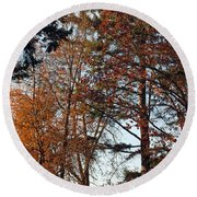 Round Beach Towel featuring the photograph Colors Of Autumn by Tikvah's Hope