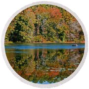 Colors Of Fall Round Beach Towel