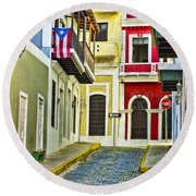 Colors Of Old San Juan Puerto Rico Round Beach Towel
