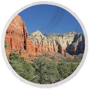 Round Beach Towel featuring the photograph Colors Of Sedona by Penny Meyers