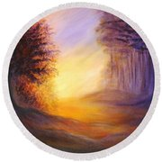 Colors Of The Morning Light Round Beach Towel by Lilia D