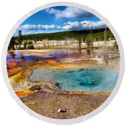 Colors Of Yellowstone National Park Round Beach Towel