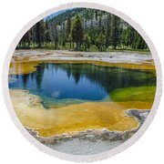 Colors Of Yellowstone Round Beach Towel