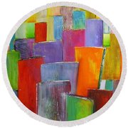 Colour Block 3 Painting Round Beach Towel