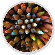 Colour Pencils Flower Round Beach Towel