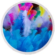Coloured Easter Feathers Round Beach Towel