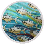 Coloured Water Fish Round Beach Towel