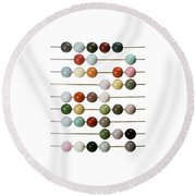 Colourful Beads On Metal Rods Round Beach Towel